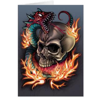 Tarjeta Tatuaje del cráneo y de la serpiente