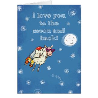 Tarjeta Te amo a la luna y a la parte posterior