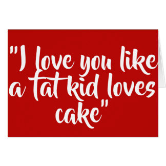 Tarjeta Te amo como una torta de los amores del niño de la