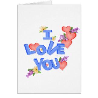 """Tarjeta """"Te amo"""" letras de molde achispadas, margaritas,"""