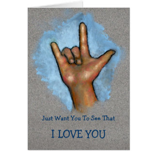 Tarjeta TE AMO: Mano que hace la muestra del ASL: Lenguaje