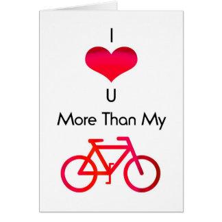 Tarjeta Te amo más que mi bici en blanco y rojo