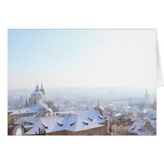 Tarjeta Tejados del invierno de Praga