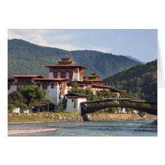 Tarjeta Templo budista por el río
