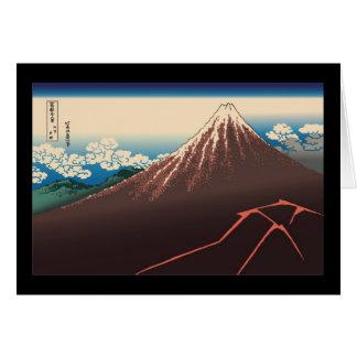 Tarjeta Temporal de lluvia de Hokusai debajo de la cumbre