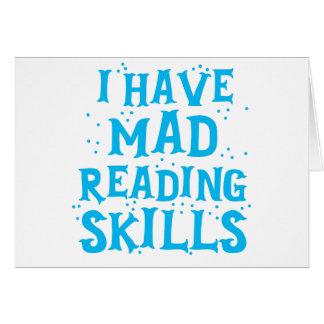 Tarjeta tengo habilidades de lectura enojadas