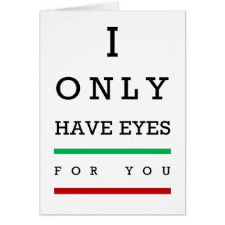 """Tarjeta """"Tengo solamente ojos para usted"""" carta de ojo"""