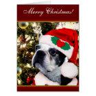 Tarjeta Terrier de Boston de las Felices Navidad