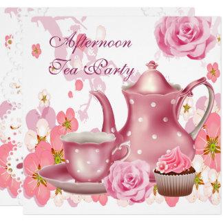 Tarjeta Tetera subió rosa del vintage de la fiesta del té