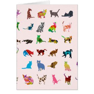 Tarjeta Textura con los gatos coloridos