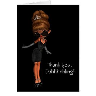 Tarjeta Thank You de princesa Diva Woman's étnica