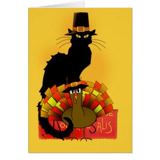 Tarjeta Thanksgiving Le Chat Noir con el peregrino de