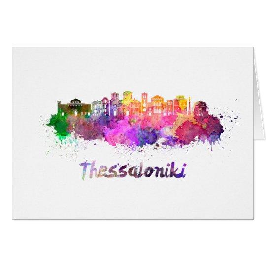 Tarjeta Thessaloniki skyline in watercolor