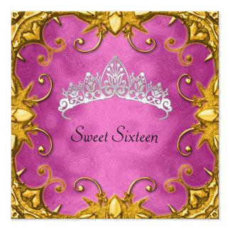 Tarjeta Tiara rosada del blanco del oro de la fiesta de