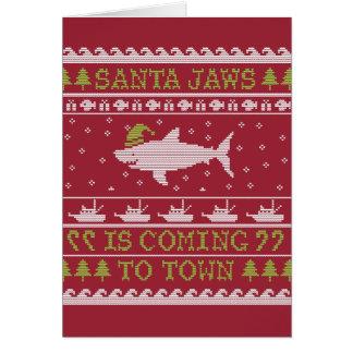 Tarjeta Tiburón feo del navidad del suéter de los