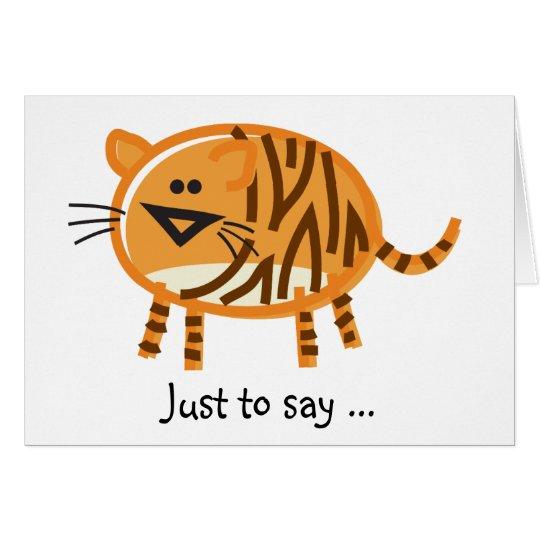 Tarjeta Tigre divertido en blanco