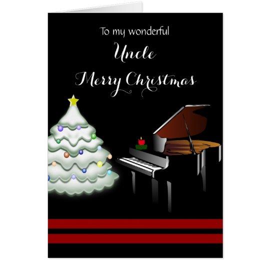 Tarjeta Tío/Felices Navidad - piano y árbol blanco