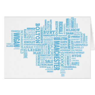 Tarjeta Tipo azul mapa de mayor Manchester