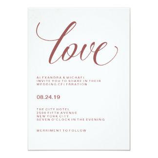 Tarjeta Tipografía del boda del amor el | Marsala
