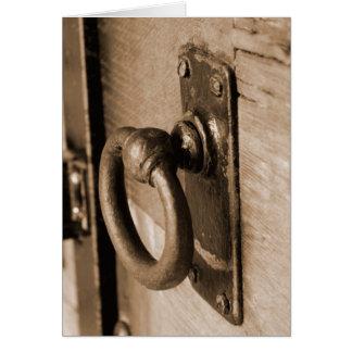 Tarjeta Tirón del tirador de puerta y sepia antiguos