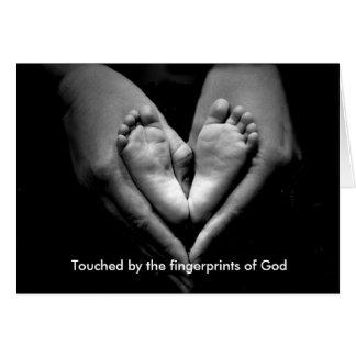 Tarjeta Tocado por las huellas dactilares de dios