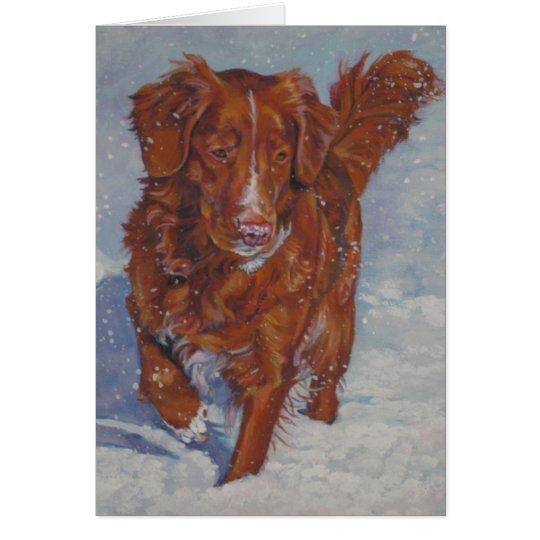 Tarjeta tocante de Navidad del perro perdiguero
