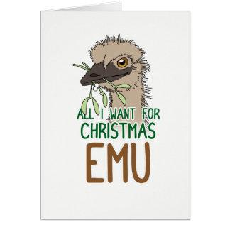 Tarjeta Todos lo que quiero para el Emu del navidad