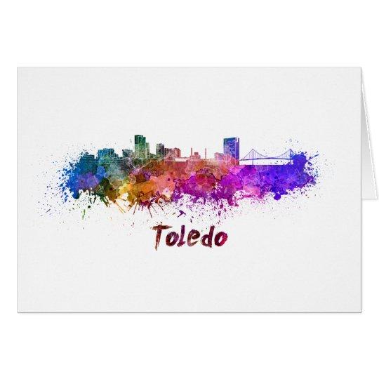 Tarjeta Toledo OH skyline in watercolor