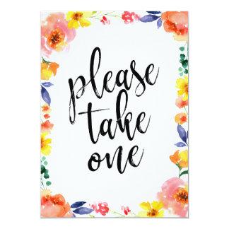 Tarjeta Tome por favor una muestra floral asequible del