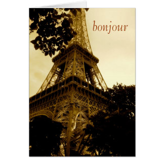 Tarjeta ¡Torre Eiffel, bonjour! viaje, espacio en blanco