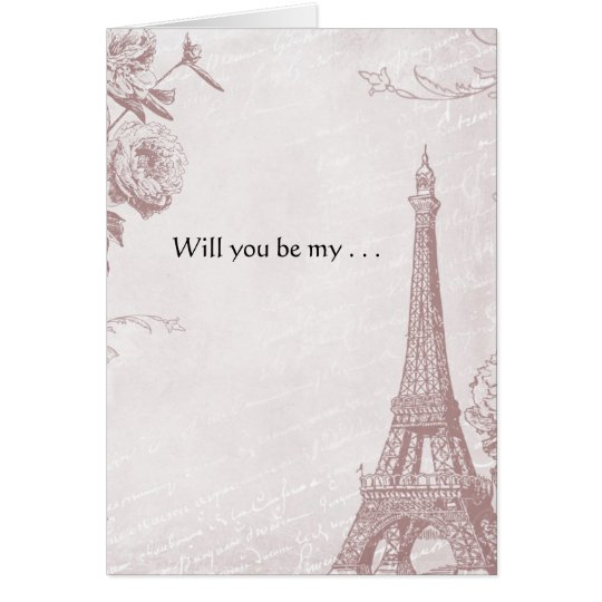 Tarjeta Torre Eiffel color de rosa del vintage del color