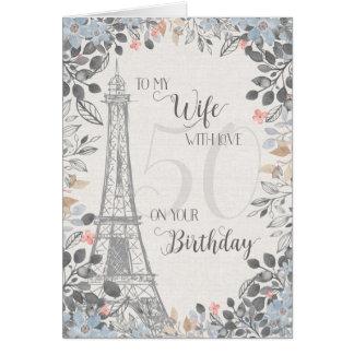 Tarjeta Torre Eiffel romántica del cumpleaños de la esposa