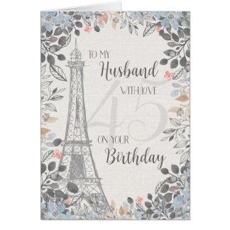 Tarjeta Torre Eiffel romántica del cumpleaños del marido