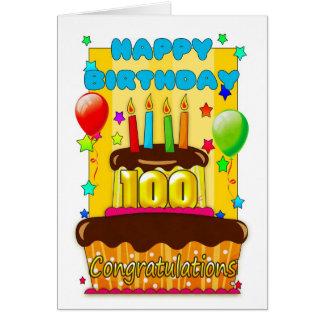 Tarjeta torta de cumpleaños con las velas - 100o