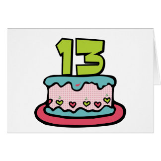 Tarjeta Torta de cumpleaños de 13 años
