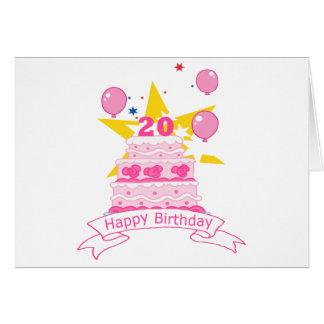 Tarjeta Torta de cumpleaños de 20 años