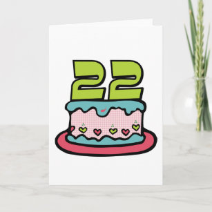 Tarjeta Torta de cumpleaños de 22 años