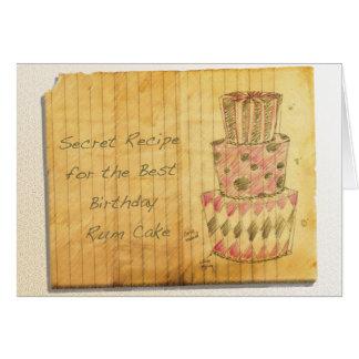 Tarjeta Torta del ron del cumpleaños