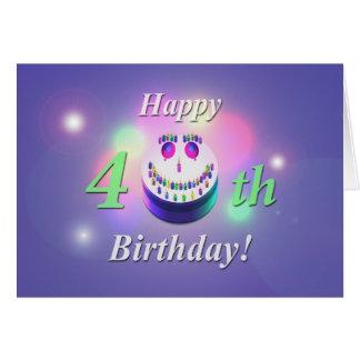 Tarjeta Torta sonriente del 40.o cumpleaños feliz