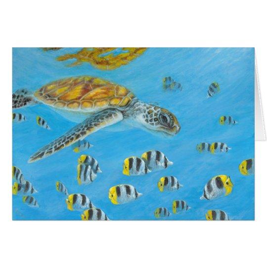 Tarjeta tortuga del bora del bora con los pescados de la