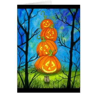 Tarjeta Tótem de la calabaza del feliz Halloween por