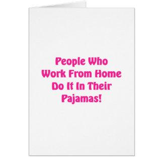 Tarjeta Trabajo en casa en sus pijamas