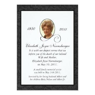 Tarjeta tradicional de la invitación de la muerte invitación 12,7 x 17,8 cm