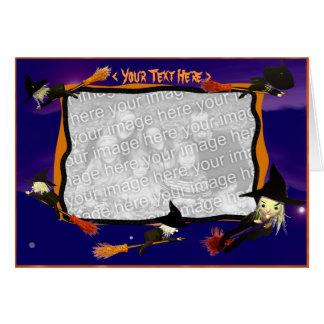 Tarjeta Tráfico de la bruja de Halloween (marco de la
