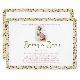 Tarjeta Traiga un libro, Beatrix Potter, flores rojas,