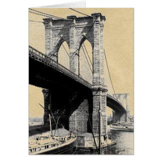 Tarjeta Transbordadores 1896 del puente de Brooklyn