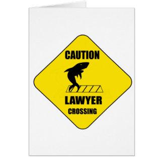 Tarjeta Travesía del abogado con el tiburón