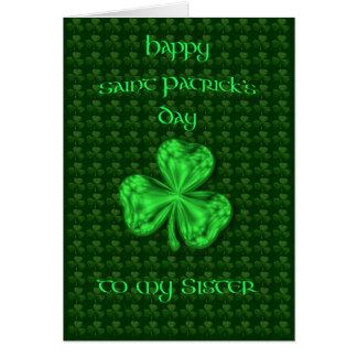 Tarjeta Trébol de la hermana del día de St Patrick feliz
