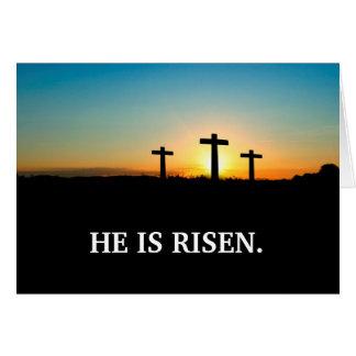 Tarjeta Tres cruces en el Calvary Pascua