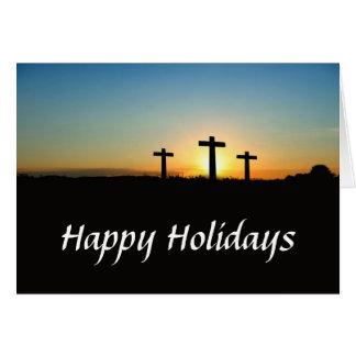 Tarjeta Tres cruces en un día de fiesta de la colina